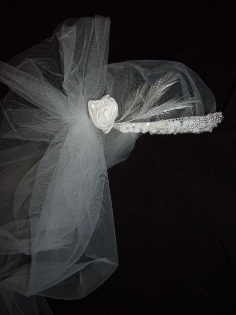 Cathedral length replica 1920's couture vintage white wedding veil and cap.