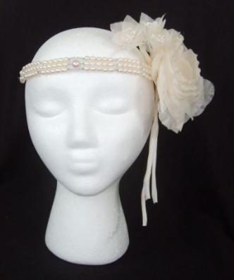 Genuine pearl headband with Swarovski crystals and silk flowers