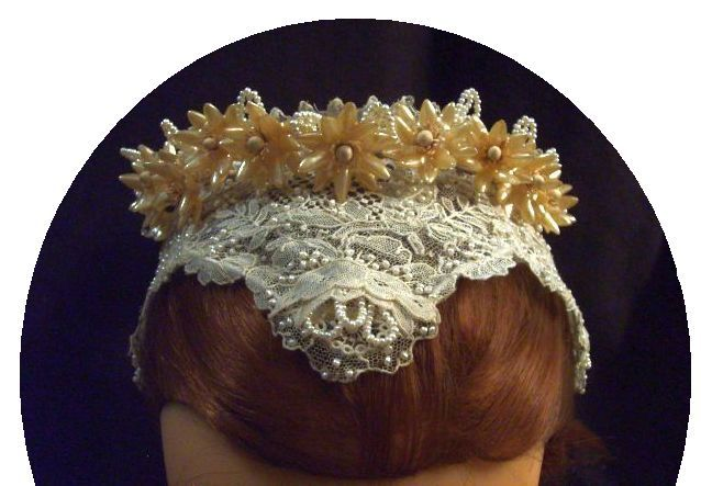 Emma Hearst's antique rose point lace headpiece by Long Live The Marriage